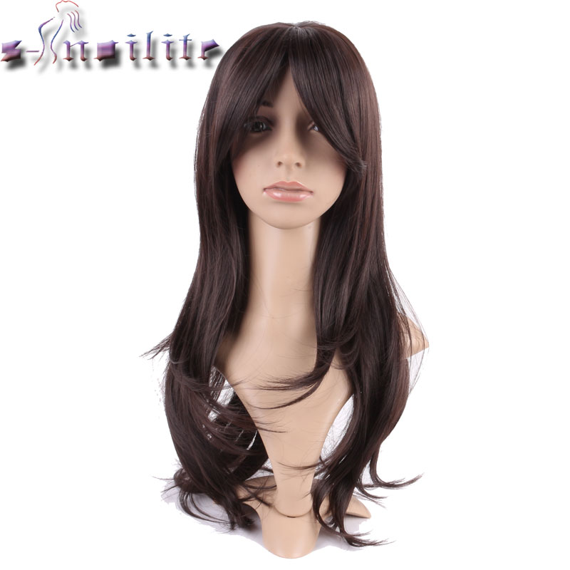 S-noilite Long Dark Brown Silky Straight Glueless Thick Heat Resistant Synthetic Wig 100% Real Natural None Lace Wigs