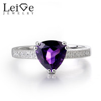 Leige Jewelry Natural Amethyst Gemstone 925 Sterling Silver February Birthstone Trillion Cut Engagement Rings For Woman