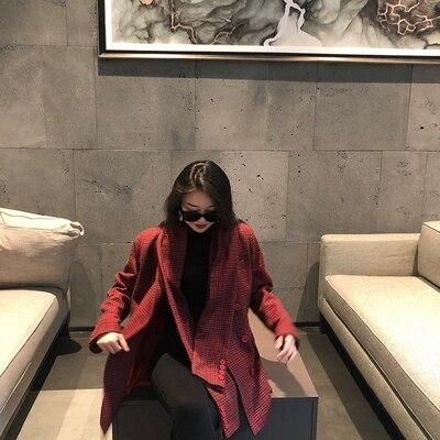Europäische Marke Neue Designer 2019 Herbst frauen Vintage Plaid Blazer feminino Zweireiher Jacke - 6