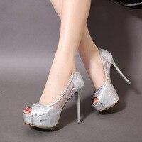 2019 Women Shoes Fashion Platform Fish Beak Hollow Feather Female Pumps Thin Heel High Heels 12cm Pumps Shallow Single Shoes
