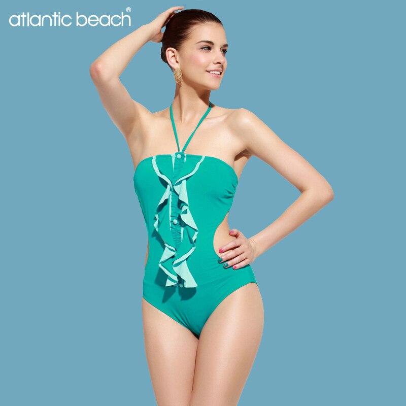 Atlanticbeach Swimwear One Piece Swimsuit Women Vintage High Waist Bathing Suit Swim Beachwear monokini bodysuit maillot de bain