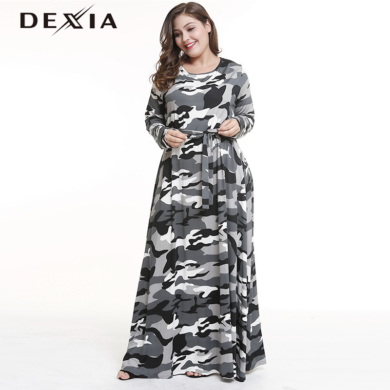 2a0197b5e77b O GRUPO DEXIA Camouflage Casuais Roupas Mulheres Sleevel Vestido Caixilhos  Longo Maxi Completo Plus Size 3XL A-Line Mulheres Soltas 4XL 5XL Vadim 7933