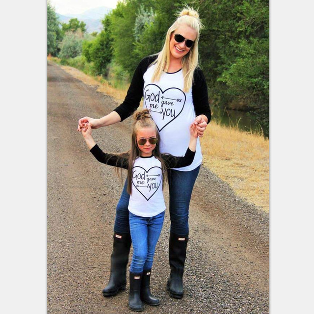MVUPP family matching outfits mother daughter tshirt God gave me you long sleeve mom mommy and me baby girl family look clothes 1