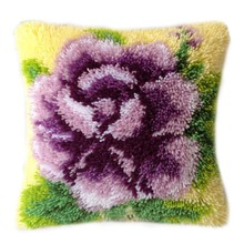 DIY Latch Hook Kits Rug Pillowcase Crocheting Cushion Carpet Unfinished Canvas Rugs Mat Cartoon for Adults Kids Baby Gift Rose