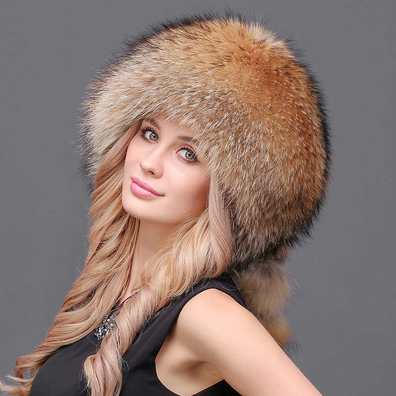 8216dde910b ... Women Winter Real Natural Fur Silver Red Fox Hat With Pom Pom Fox Tail  Lady Winter ...