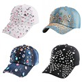 wholesale women girl luxury cap irregular rhinestone crystal cotton novelty snapback woman outdoor casual beauty baseball cap