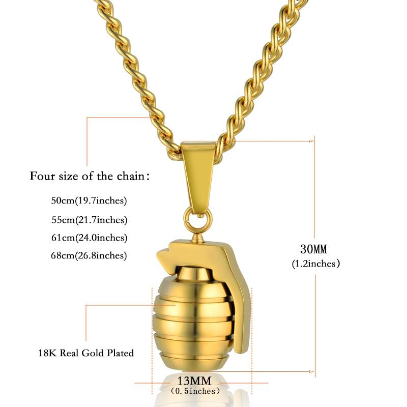 Collar colgante de granada antitanque para hombres de hip hop para - Bisutería - foto 3