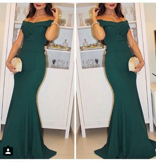 Vestido de festa longo Custom made boat neck Long mermaid 2018 Plus size Saudi Arabia Green Party prom gown   bridesmaid     dresses