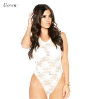 2017 Summer White Sleeveless Lace Bodysuit Tops Women Sexy Sheer Mesh Thong Bodysuit Floral Bodycon Body
