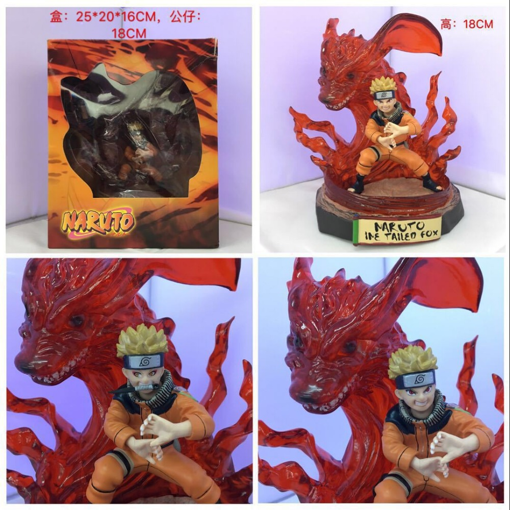 Hot 18 cm the Nine-Tailed Fox Uzumaki Naruto PVC Action Figure Luxury color Japan anime model gifts for boys kids image