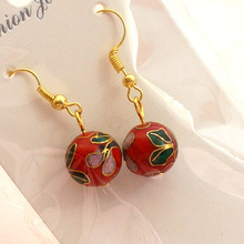 Colorful Beads Cloisonne filigree Earrings Ethnic Chinese traditional craft Jewelry Dangle Eardrop Women