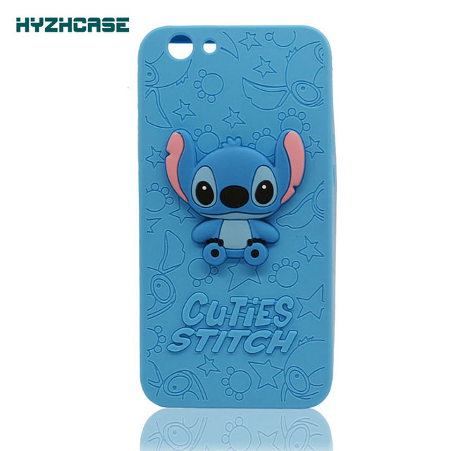 pretty nice cbed9 57930 US $3.84 |Silicone Phone Cases For OPPO F1S Case Cute 3D Cartoon Stitch  Soft Silicone Rubber Mobile Phone Shell Back Cover For OPPO A59-in ...