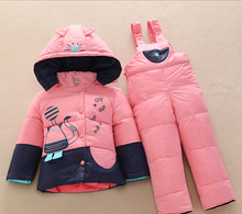 New Children winter Down Clothing Set for Girls Boys warm Kids Down Jacket Parkas suit thick