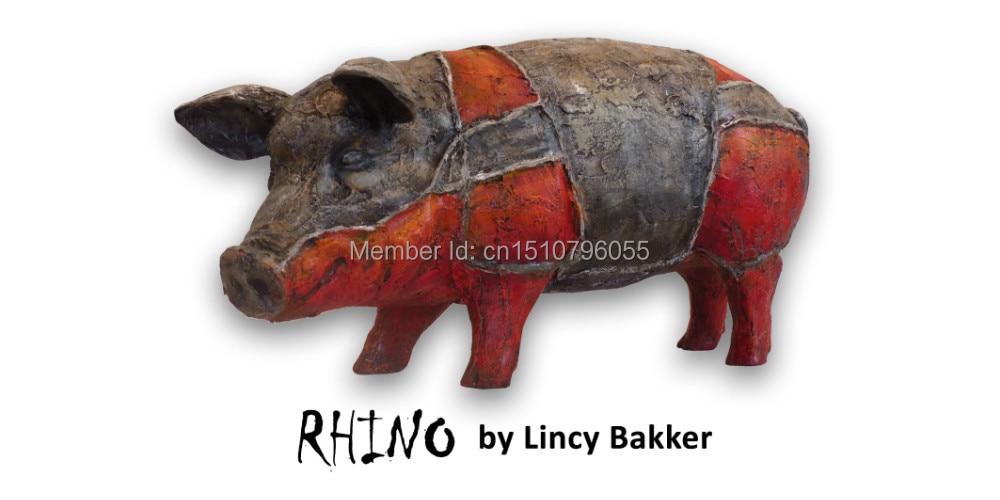 "Polyresin Art Pigs Collectible pigs Umělecká prasata sochy ""Rhino"""