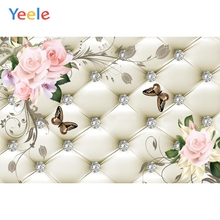 Yeele Floral Headboard Bed Diamond Pattern Flowers Butterfly Scene Photographic Backgrounds Photography Photo Backdrops Studio