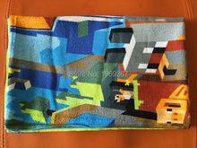 Drop Ship ! Hot sale ! in stock 140 * 70 minecraft Children's bath towel beach towels Pure cotton cartoon