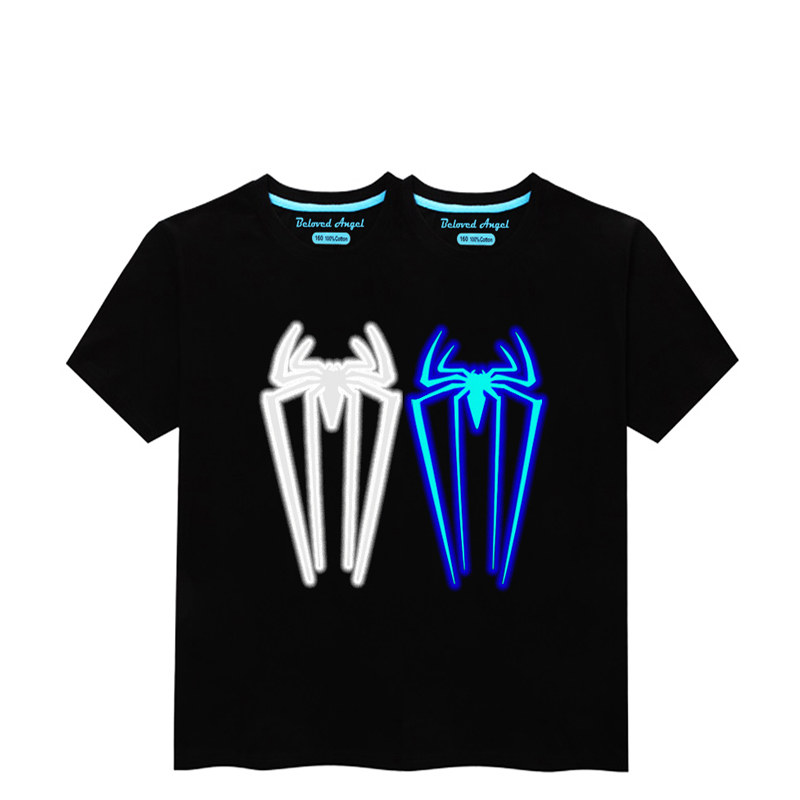 HTB1MyJ2RVzqK1RjSZFvq6AB7VXaZ - Luminous Short Sleeves T-Shirt For Boys T Shirt Spiderman Christmas Teen Girls Tops Size 3-15 years Teenage Toddler Boy Tshirts