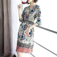 100% silk print v neck knee length dress 2018 new runway women summer dress high quality office lady a line dress