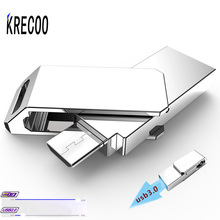 KRECOO New USB3.0 High-speed Data Transmission Waterproof Portable Dual Plug OTG USB Metal U Disk for Android Rotate U Disk