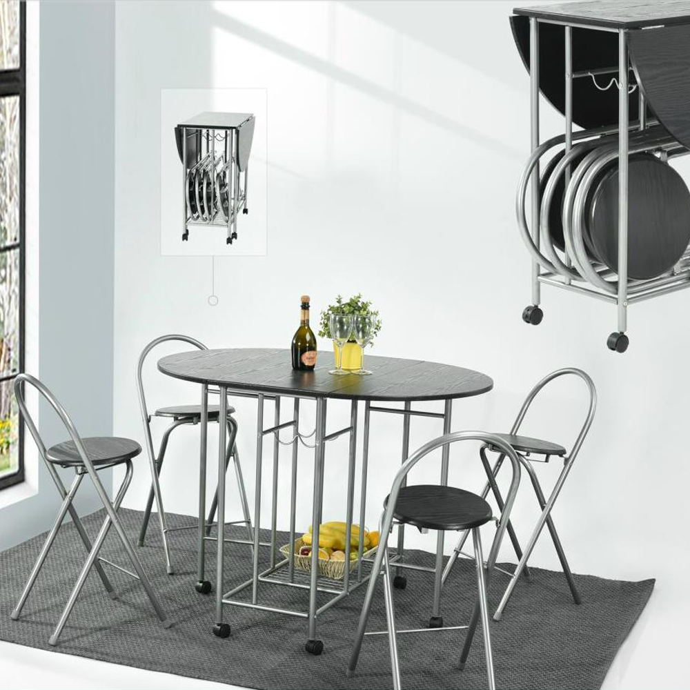 Unique Dining Room Furniture: Aingoo 5Pcs 360 Degree Butterfly Set Steel Sliver Tube