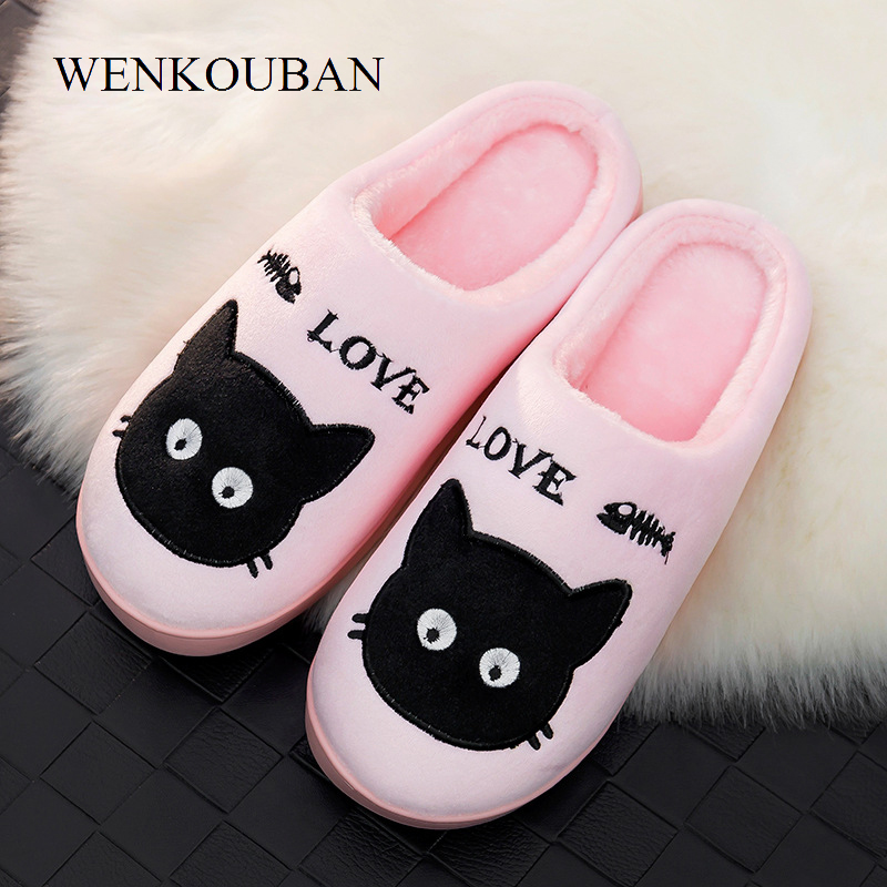 Women Fur Slides House Slippers Winter Plush Indoor Slippers Ladies Cat Print Fluffy Shoes Female Cotton Shoes chaussures femme