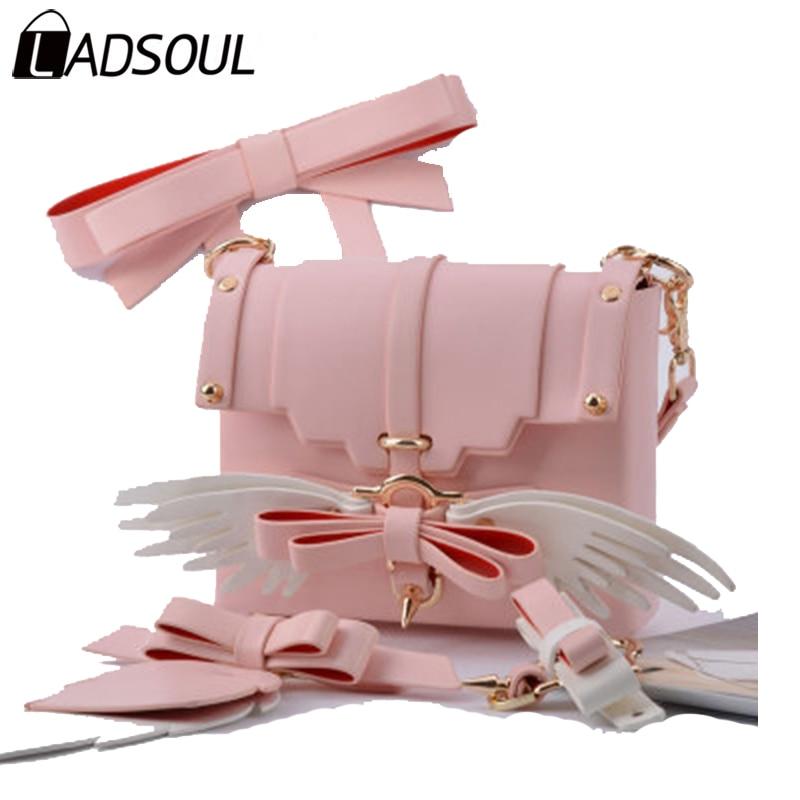 LADSOUL Handbag Women PU Leather Handbags Lady Wing Lovely Novel Girls Like Bag Bags For Girl Small Female School Flap A4653/h small like a1163 2015