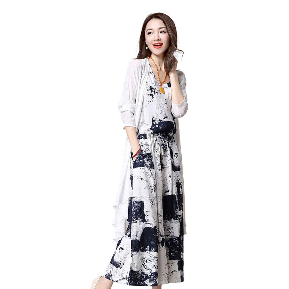 db5bd2d9b As Mulheres da forma 2 Pçs set Longo Sem Mangas Vestido + Cardigan  Conjuntos de roupas Ternos De Linho De Impressão de Algodão Macio Plus Size  5XL-MX8