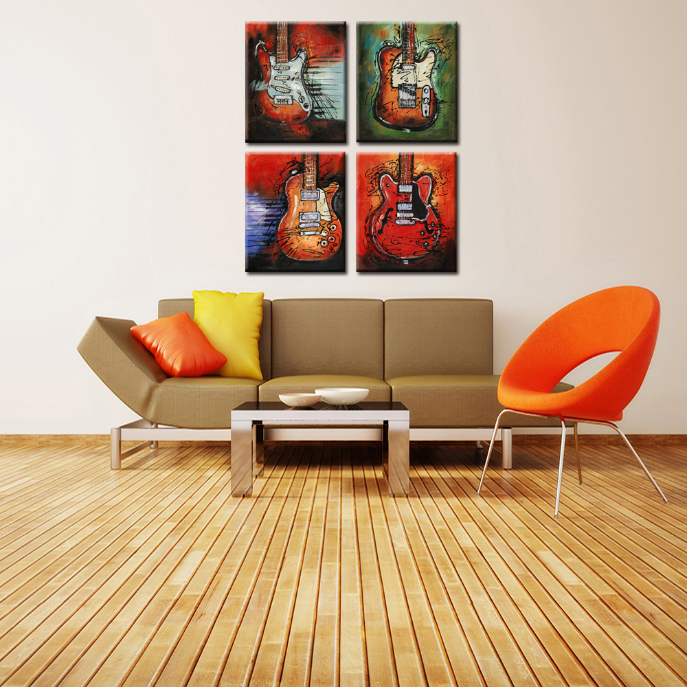 4 Stücke Musik Leinwand Wandkunst Bild Giclée Drucke Abstraktes ...