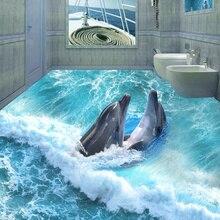 3D Stereoscopic Dolphin Ocean Bathroom Floor