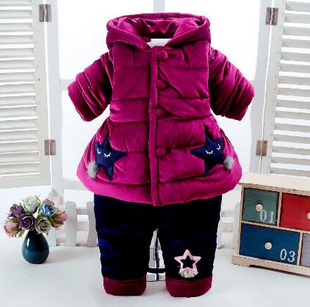 Winter Baby Girl Clothes Sets 2017 New Toddler Girls Warm Thicken Coat Baby Hooded Jacket+Pant Infant Clothing 2pcs Kids Suits