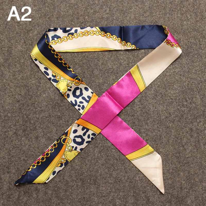 Bolso de moda bufanda de mujer de marca de impresión de seda pequeño bolso de mano de cinta bufanda de pelo de mujer bufandas delgadas 2018 al por mayor