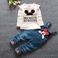 2016 nova chegou quente primavera bebê meninas roupas Set crianças macacão jeans calça + blusa completo manga Twinset roupa dos miúdos Set
