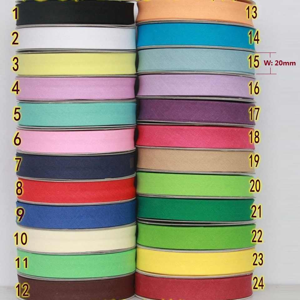 20mm, cinta de polarización planchada, pliegue único, encuadernación de algodón, diy, manualidades, tejido de costura, 2 metros