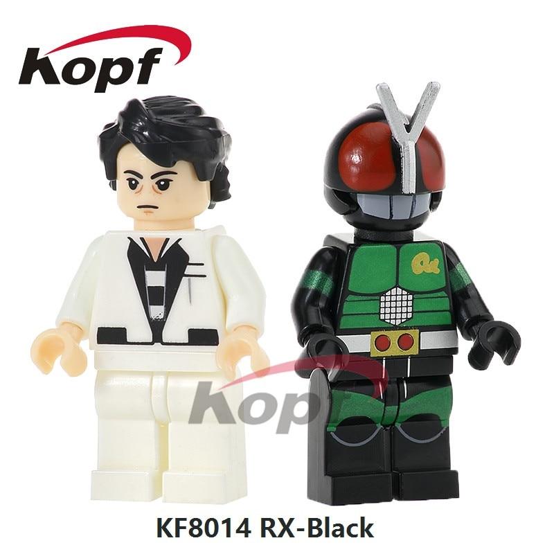 Super Heroes RX-Black Black RX Masked Rider Kamen kaijn kaiju Shocker Gashapon Monster Building Blocks Children Gift Toys KF8014 black
