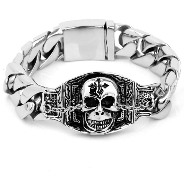 Mens Harley Jewelry Heavy Cool Evil Damn Skull Bracelet Bangle 316L