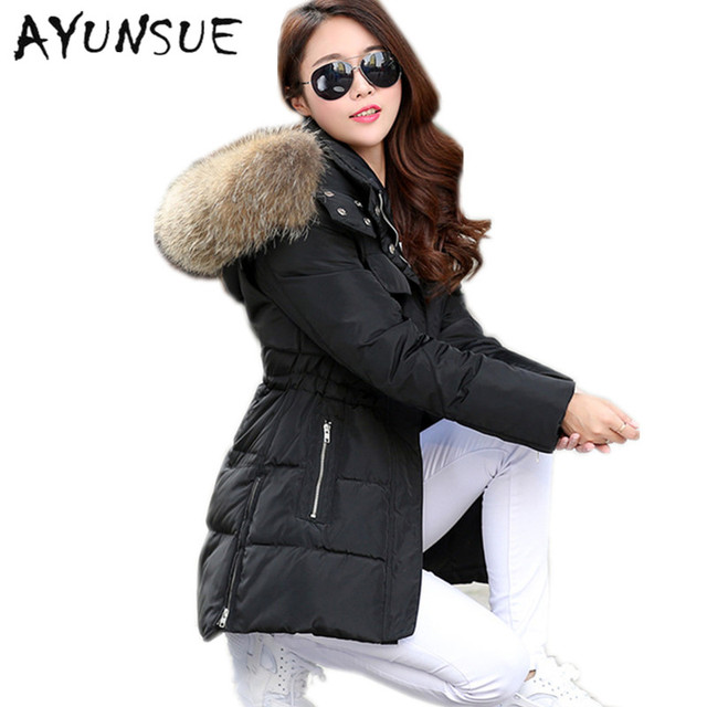 0ab52104a51 Winter Jacket Women Parka 2017 White Duck Down Thick Jackets For Women Hood  Natural Pure Raccoon Fur Collar Plus Size 5XL HJ397