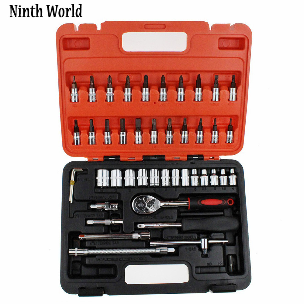 Ninth World 46pcs 1/4-Inch Socket Set Car Repair Tool Ratchet Torque Wrench Combo Tools Kit Auto Repairing Tool Kit