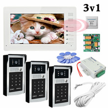 Wholesale Apartment 3 Doors HD 700lines Cameras Password And RFID Cards Unlock Color 7″ Monitor Video DoorPhone Intercom Systems In Stock
