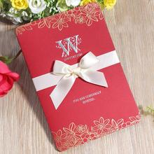 30pcs/lot 3D Color Print Red Ribbon Bow Wedding Invitations Card with Blank Inner Page Part Invites Cards