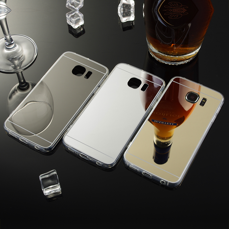 For Samsung Galaxy S6 Edge Mirror Case Soft TPU Back Cover For Samsung galaxy S6 Edge G9250 Cases Cell Phone Shell Accessories