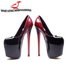 Señora plataforma bombas Sexy tacones Ultra altos 19 cm patente de cuero  Sexy zapatos de las mujeres zapatos de mujer zapatos bo. d7bfe3eade82