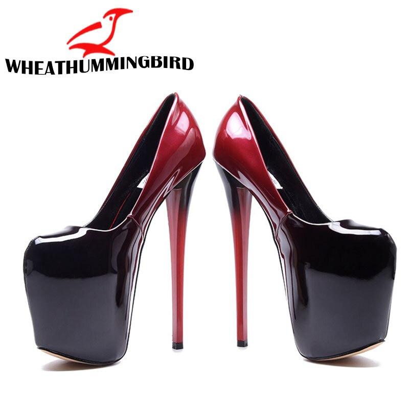 Lady Platform Pumps Sexy Ultra High Heels 19cm Patent Leather Sexy Shoes Women Party Shoes Women Pumps Wedding Shoe 34 47 MC 73
