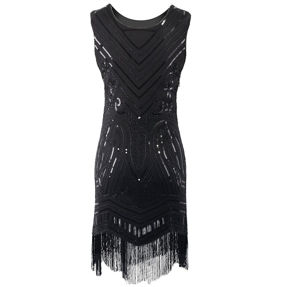 767f106824 Kobiety Rocznika Wielki Gatsby 1920 s Zroszony Olśniewająca Fringed Art  Nouveau Deco Klapa Paisley Party Dress Czarny Midi Sukienka Vestidos w  Kobiety ...