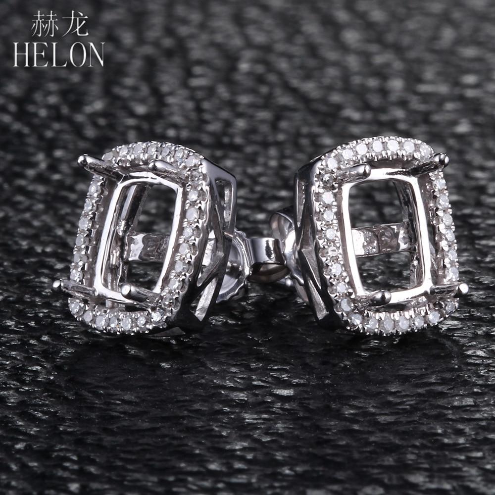 HELON 5x7mm-6.75x8.75mm Подушка Cut Solid 14 К белое золото Леди Винтаж природных алмазов элегантный полу крепление свадебные серьги