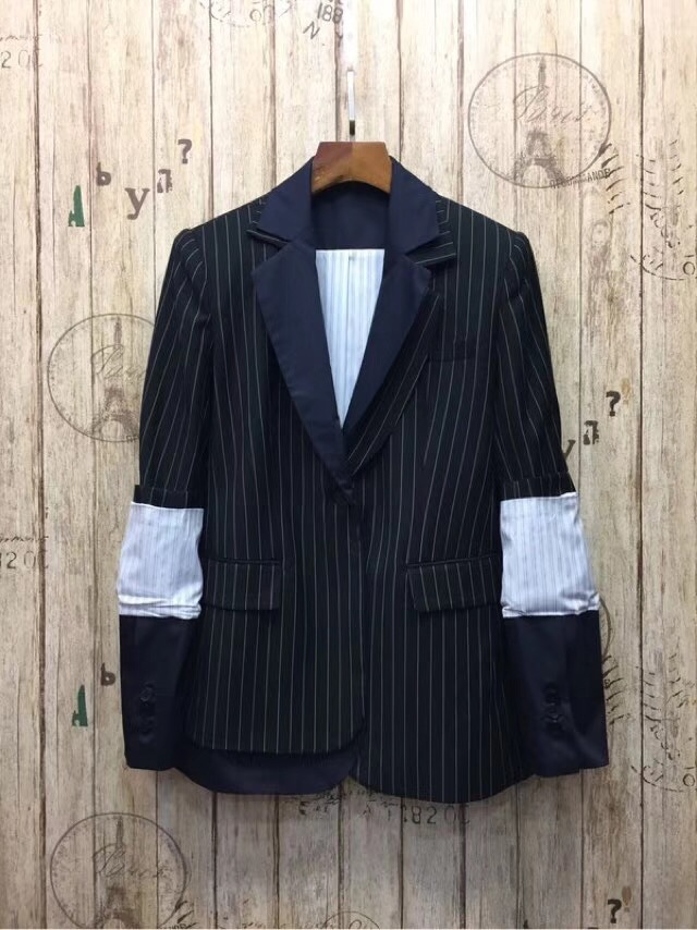2018 Spring Summer New Arrival Notched Collar Spell Color Stitching Sleeves Hidden Breasted Stripe Women Blazer Free Shipping