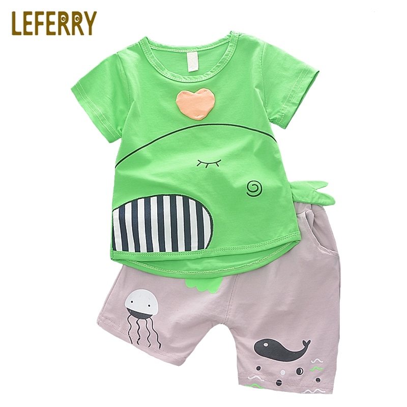 New Fashion Baby Boys Clothing Set Cotton Short Sleeve + Shorts Cartoon Kids Clothes Summer Set Baby Boy Outfits 3pcs set newborn infant baby boy girl clothes 2017 summer short sleeve leopard floral romper bodysuit headband shoes outfits
