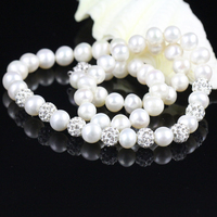 White Pearl Necklace For Elegant Women Freshwater Pearl Chain Clay Ball With Crystal Wedding Bridesmaids Gift