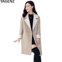 YAGENZ Autumn Trech Coat Women Long Windbreaker 2017 Fashion Casual Overcoat Women Big Size Solid Color