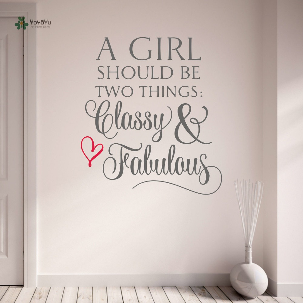 YOYOYU Wall Decal Vinyl Wall Sticker Removeable Quote Classy and ... for Wall Stickers For Teenage Girls Bedrooms  110yll