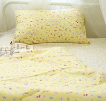 Cute cartoon yellow bedding set teen kid,cotton twin full queen single double home textile flat sheet pillow case quilt cover